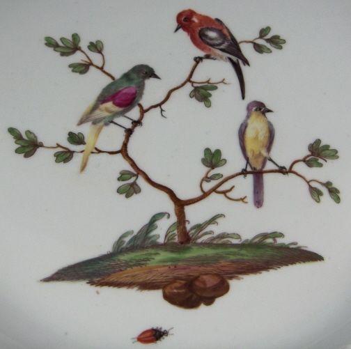 Rare-18thC-Ludwigsburg-Bird-Scene-Large-Plate-Porcelain